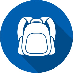 Icon of a backpack, white on a blue circle