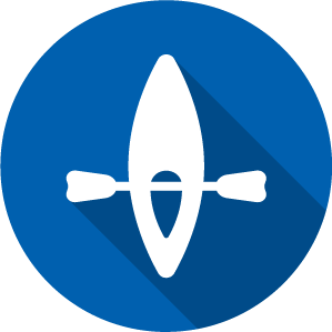 An Icon of a Kayak, white on a blue circle