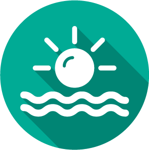 Icon of sun over waves, white on green circle