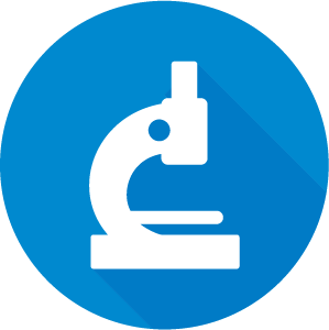 Icon of a microscope, white on a blue circle