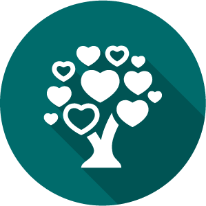 Icon of a tree with hearts for leaves, white on a green circle