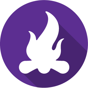 An icon of a campfire, white on a purple circle