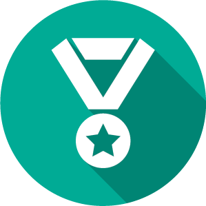 An Icon of a white medal on a medium green circle