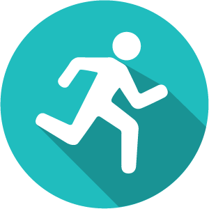 An icon of a stick figure running on a green circle
