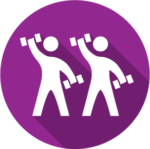 An icon of two stick figures lifting weights on a purple circle