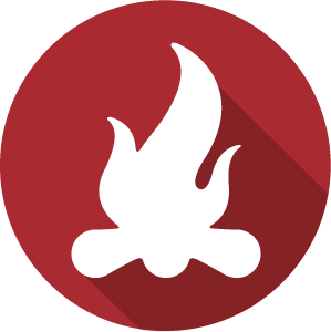 An Icon of a campfire in white on a red circle