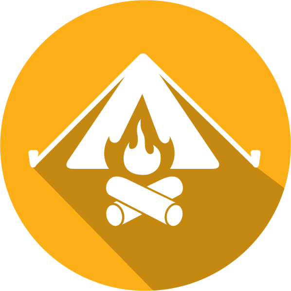An icon of a tent and campfire, white on an orange circle