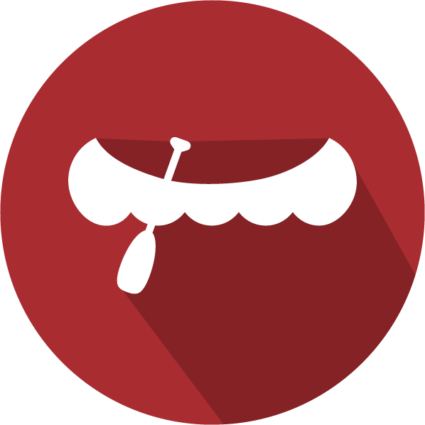 An icon of a canoe, white on a red circle