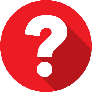 An icon of a question mark, white on a red circle