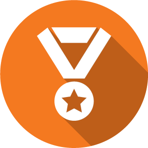 An icon of a medal, white on an orange circle