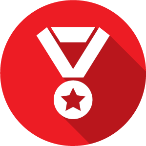 An icon of a medal, white on a red circle