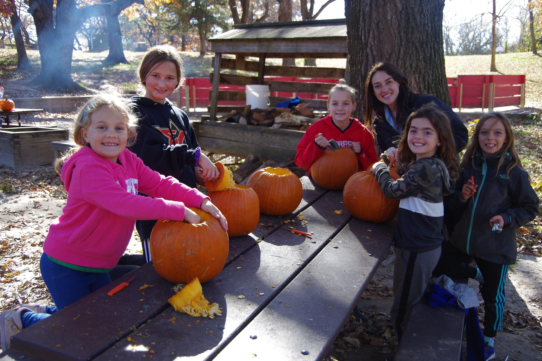 5 campers and a staff member begin to carve pumpkins on a picnic table